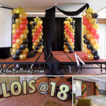 Black, Gold & Red Balloon Decoration for a Debut at Marco Polo Hotel