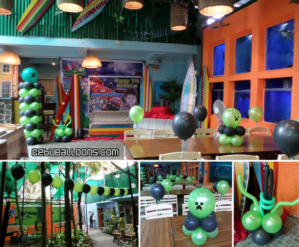 Minecraft Theme Balloon Decoration Package at Seafood Island Rainforest Park