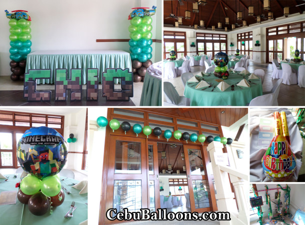 Minecraft Theme Balloon Decors with Party Supplies at Pristina North Clubhouse