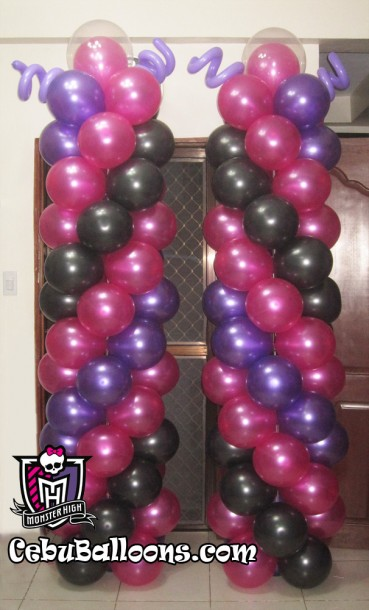 8-feet Balloon Pillars for a Monster High Birthday
