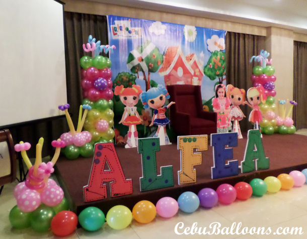 Lalaloopsy Theme Stage Decoration using Balloons, Styro & Tarp at Mandarin Plaza Hotel