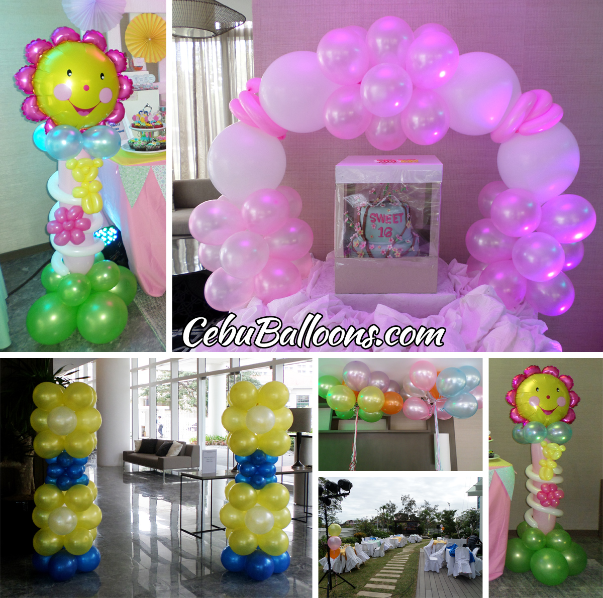 Balloon Decorations for a Sweet 16 Birthday Party at 1016