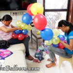 Balloon Workshop - doing the Cake Arch