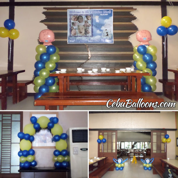 Blue & Yellow-colored Balloons for Clint Josh Christening at Golden Cowrie Lahug