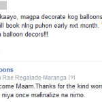 Feedback from Odessa for nice balloons