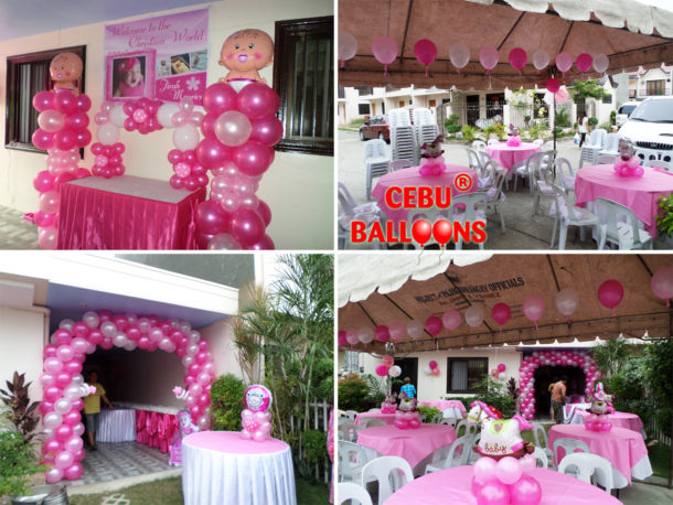 Girl Christening Balloon Decoration at BF Countryhomes in Agus, Lapulapu