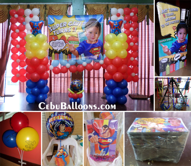 Superman cebu balloons and party supplies for 1st birthday decoration packages