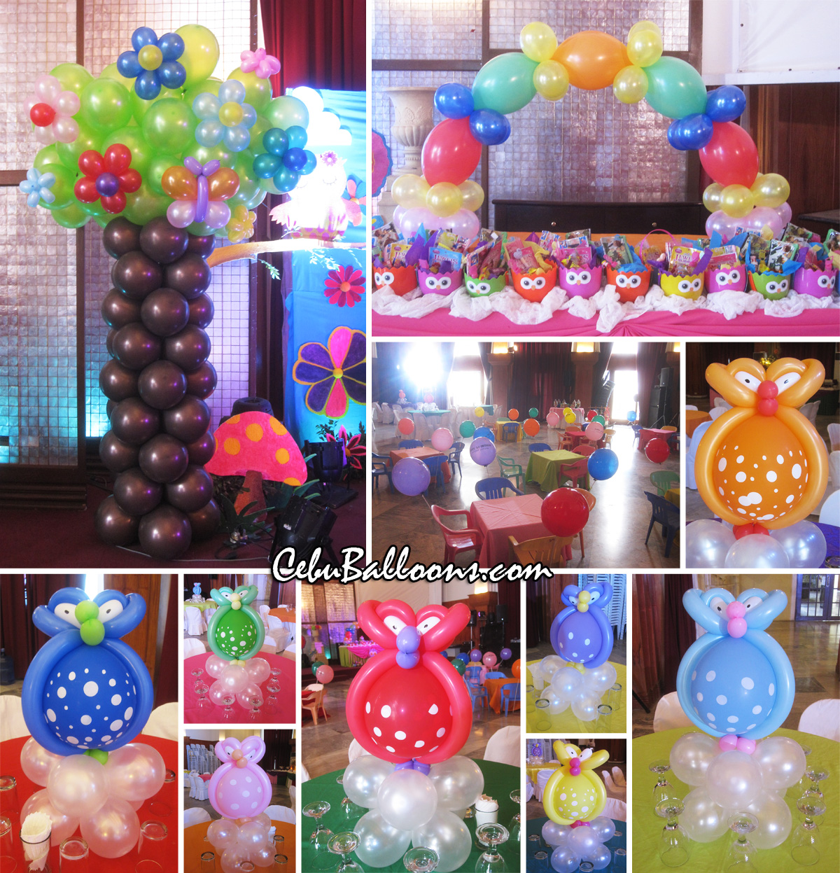 Whimsical owl cebu balloons and party supplies for Balloon decoration packages