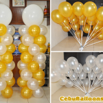 White & Gold Balloons for a 50th Birthday
