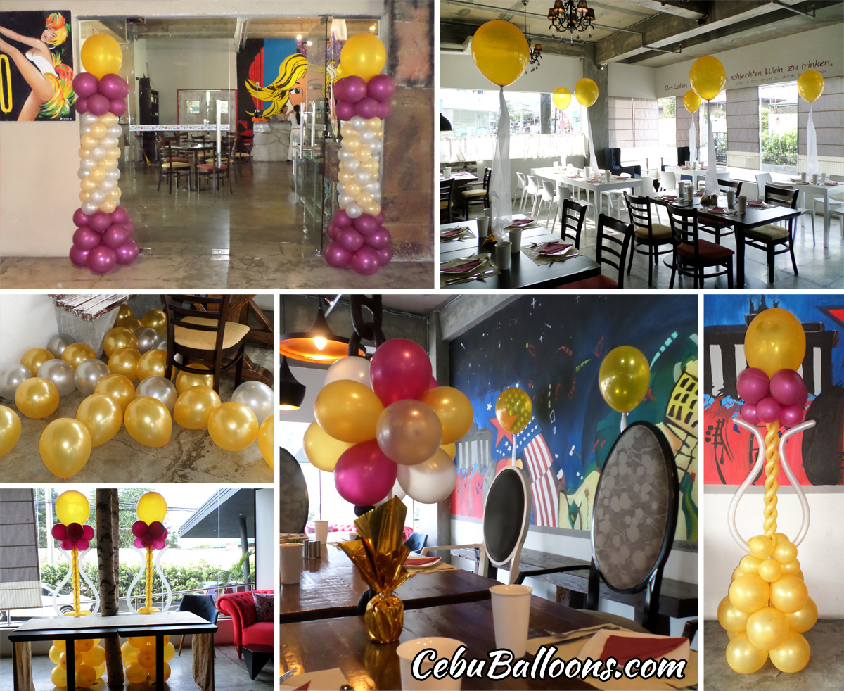 Balloon Decorations For A 50th Birthday At Henrys Hotel Ricas Restaurant