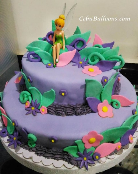 2-Layer Fondant Cake for a Tinkerbell Party