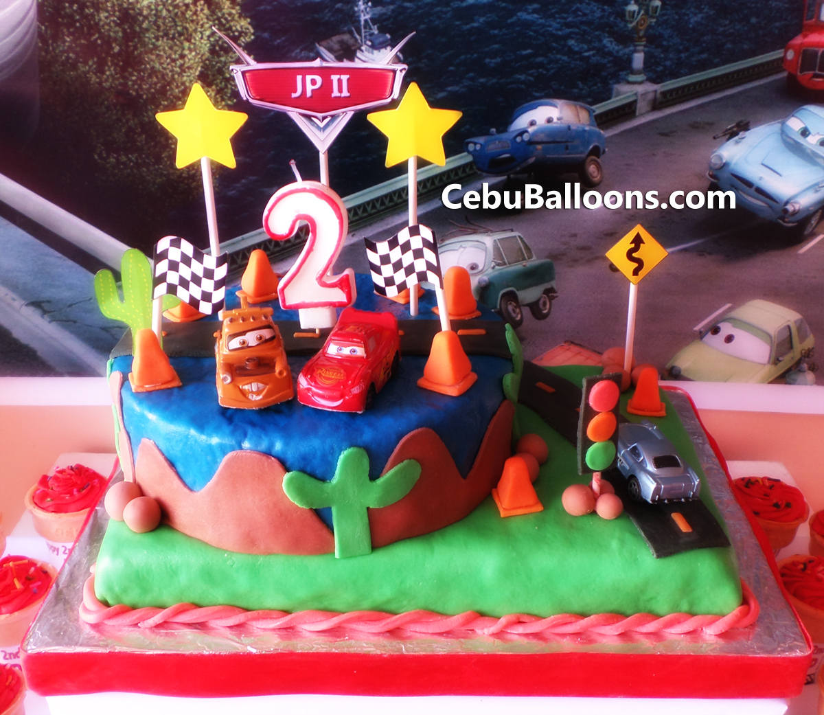 Cars Theme Cake For Jp Ii S 2nd Birthday Cebu Balloons And Party