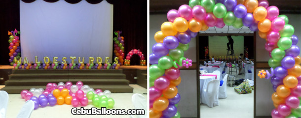 Colorful Hi-5 Balloon Decoration for a 75th Birthday at CAP Theater