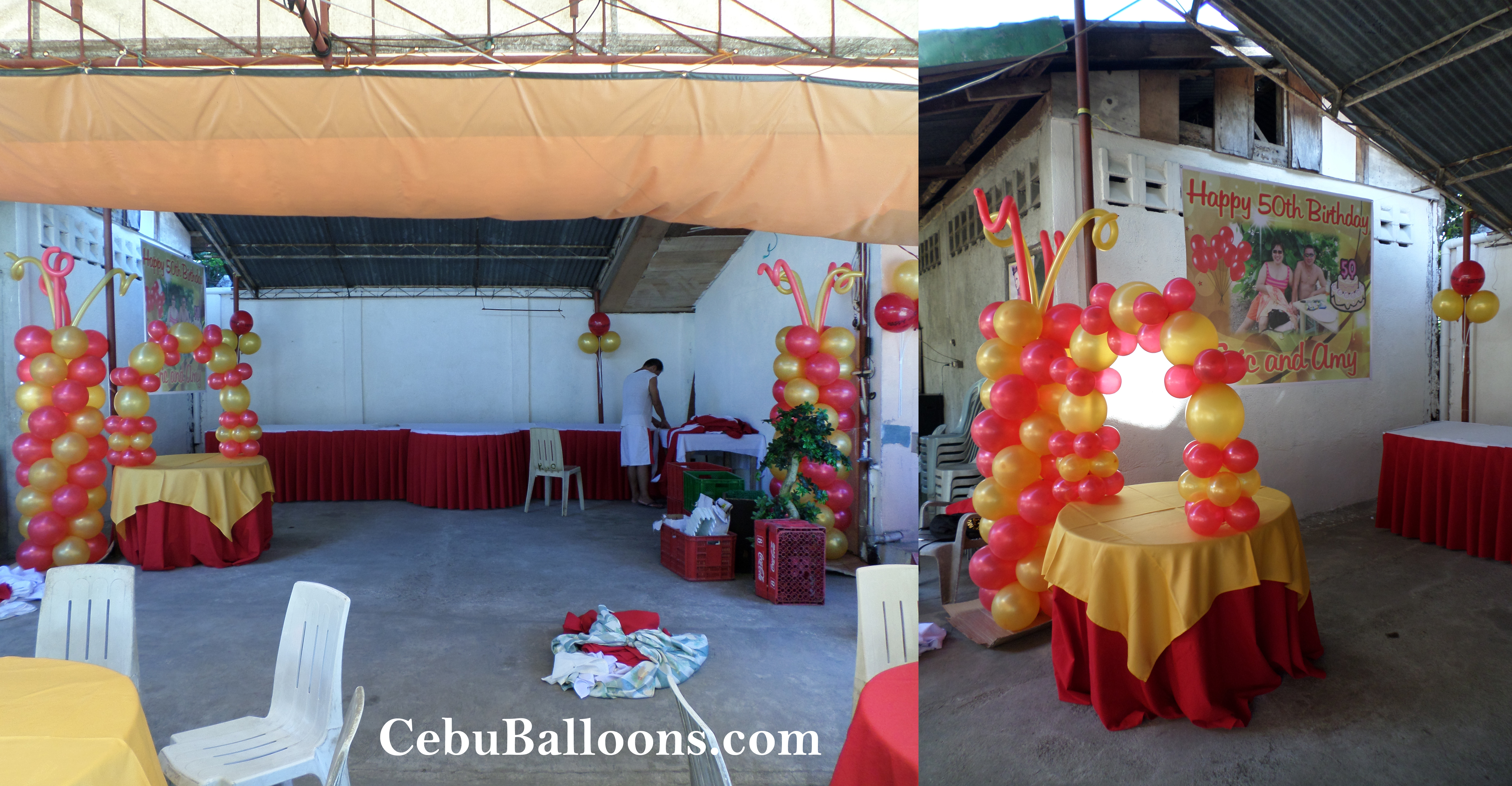 Red Gold Silver Balloon Decorations For A 60th Birthday At Paradise Garden Events Pavillion