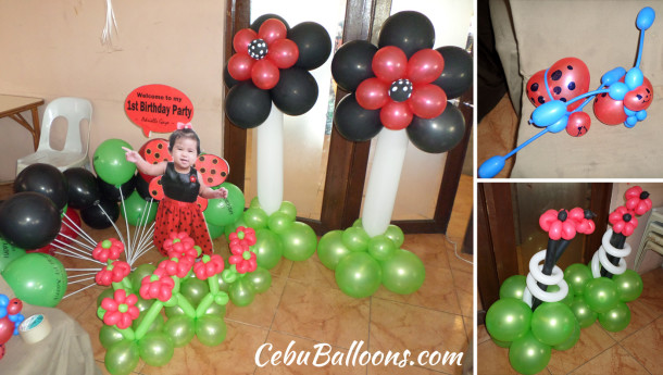 Lady Bug Balloon Decors with Standee and Clown at Sugbahan