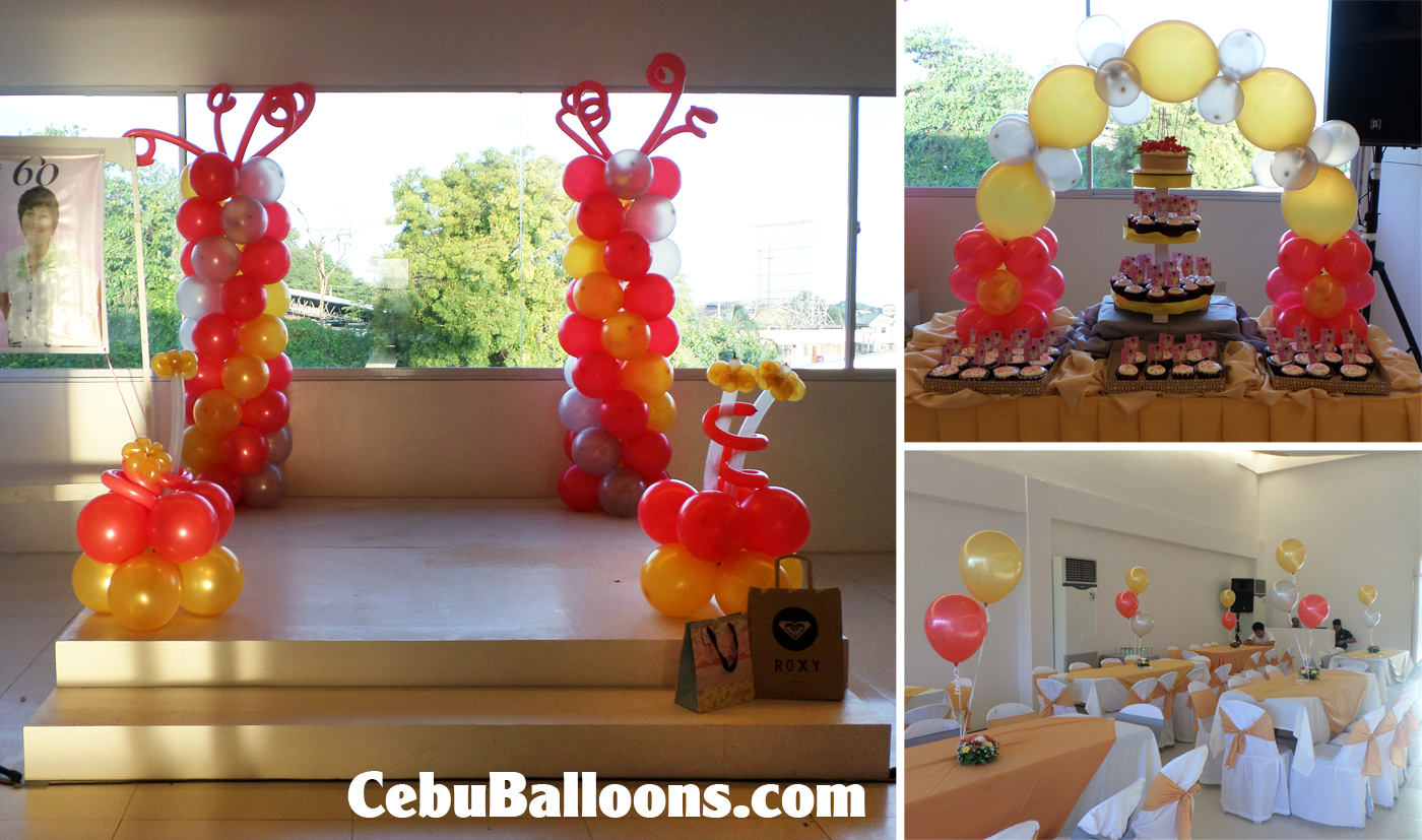 Red, Gold \u0026 Silver Balloon Decorations for a 60th Birthday at ...