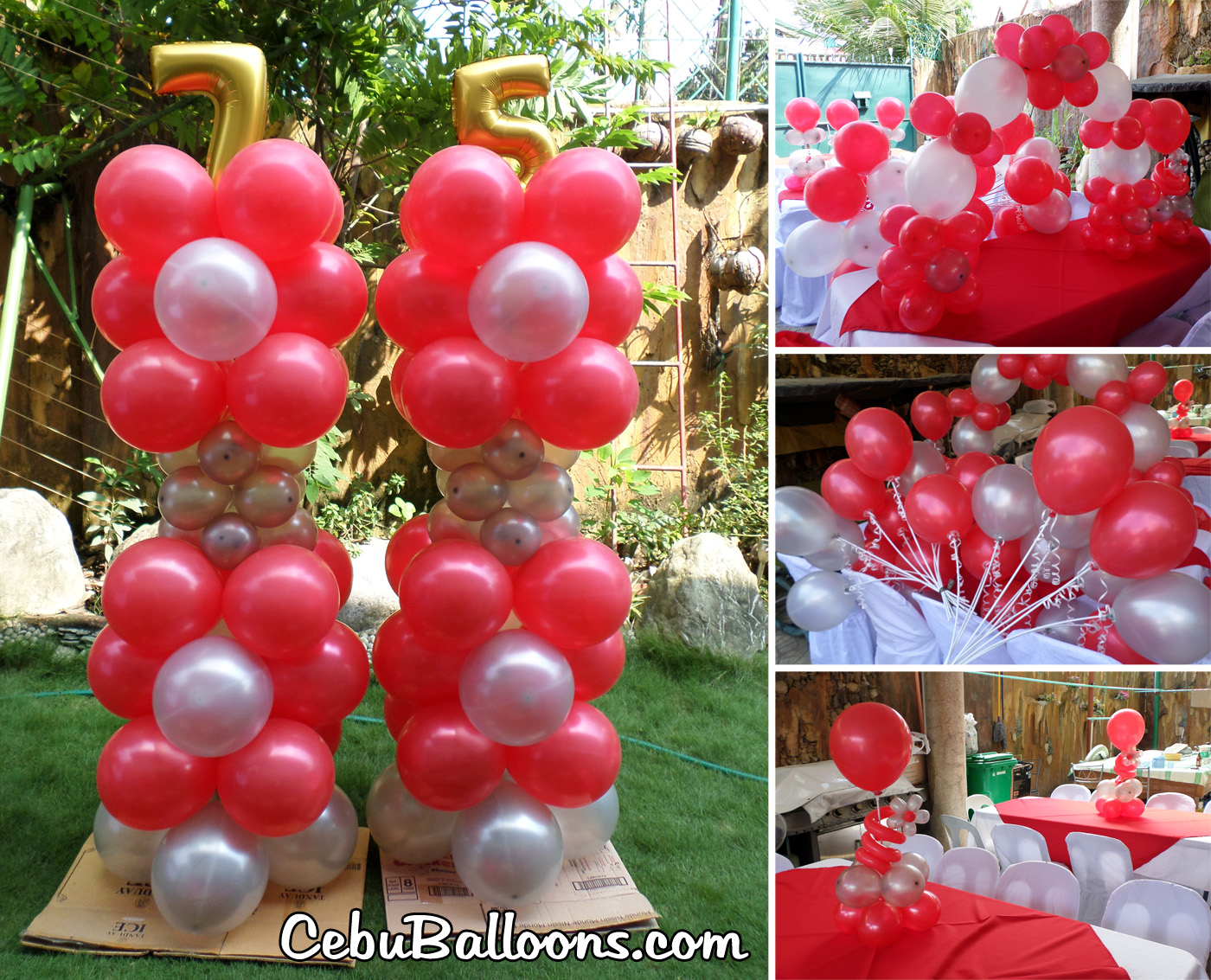 Red White Balloon Decors For A 75th Birthday At Dona Rosario Village