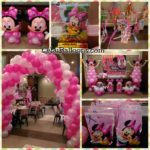 Minnie Mouse Balloon Decorations with Party Supplies at Golden Cowrie