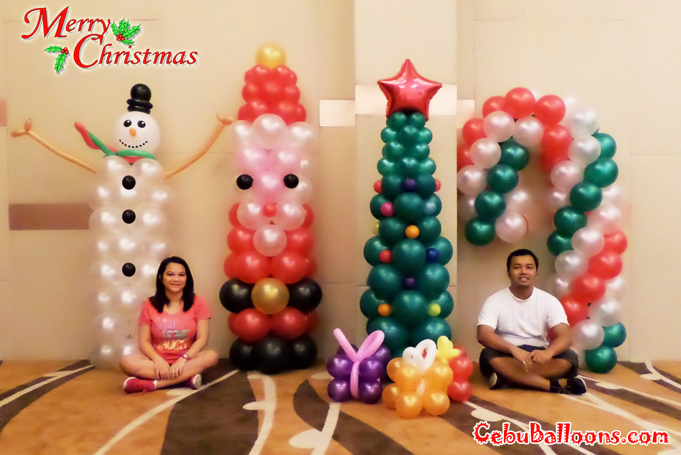 christmas balloon decoration at bayfont hotel - Christmas Balloon Decor
