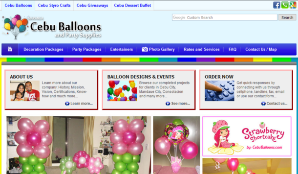 Home Page of Cebu Balloons Website