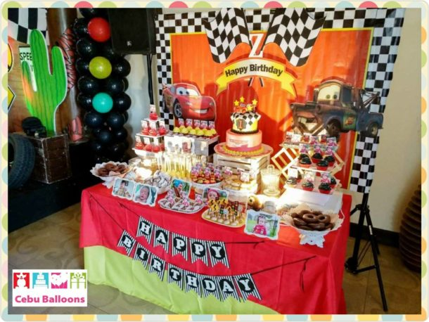 Cars-themed Dessert Buffet with 2-Layer Cake