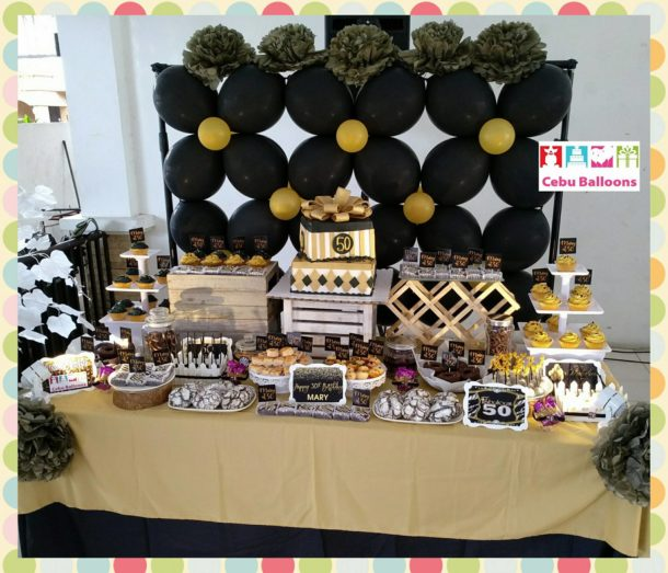 Elegant Black and Gold Themed Dessert Buffet for Mary's 50th Birthday